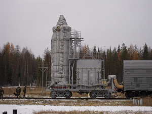 Arrival of the composite and climatisation wagons on the launch pad