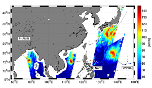 SMOS's microwave radiometer captured wind speed readings from three different typhoons during 10-15 October 2013. © ESA/IFREMER/CLS/CATDS/CNES